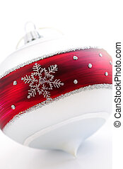 Christmas ornament - Closeup of red and white Christmas...