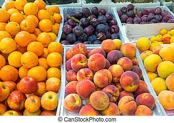 Ripe fruits at a market