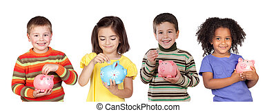 Four funny children with money-box isolated on a white...