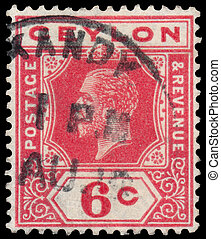 Stamp printed in CEYLON shows image of the George V - CEYLON...