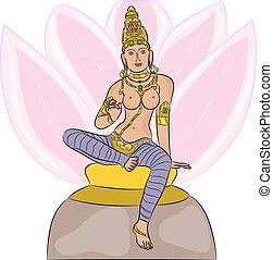 Hindu Goddess Lakshmi - Hindu Goddess Lakshmi on a lotus...