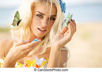 Pretty blond lady with colorful butterflies - Pretty blond...