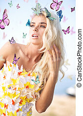 Alluring blonde wearing butterfly dress - Alluring blonde...