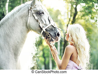 Fabulous woman with bright horse - Fabulous woman with a...