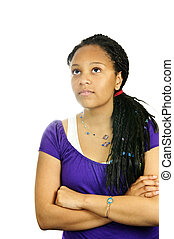 Teenage girl - Isolated portrait of black teenage girl with...