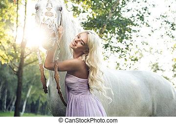 白色, 婦女, 馬, 擁抱, 滿意