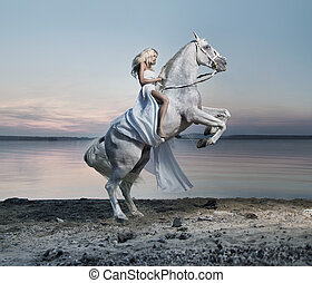 Amazing portrait of blond woman on the horse - Amazing...