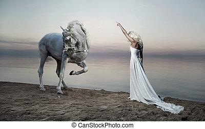 站立, 馬, 婦女, 形狀美觀, 相反