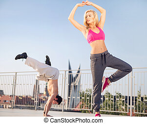 Fit couple during the training - Fit couple during the...
