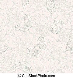 Seamless pattern with flowers . Floral ornament. Hand-drawn...