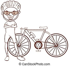 A plain sketch of a cyclist - Illustration of a plain sketch...