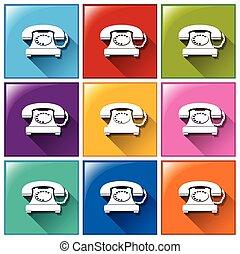 botones, con, teléfonos,
