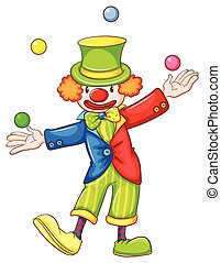A drawing of a clown juggling