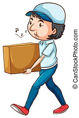 A drawing of a postman with a box