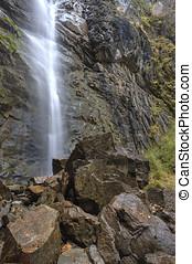 atrás, conexión en cascada, rocas, bajas