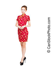 asian young woman with cheongsam isolated on white...