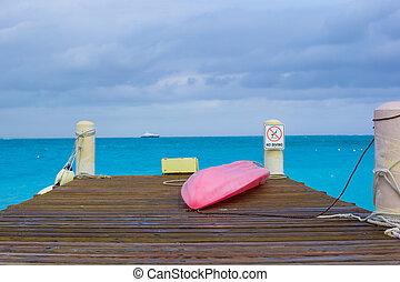 tropische, sandstrand,  Pier, boot