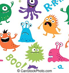 Seamless background with colorful cute monsters - Seamless...