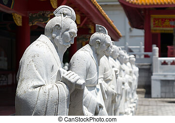 72 followers statues of Confucian Temple in Nagasaki, Japan....