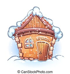 Vector illustration of winter cartoon home with snow