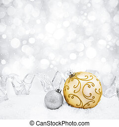 Decorative christmas background with bokeh lights and...