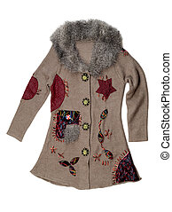 crocheted coat - Knitted brown coats with fur collar....