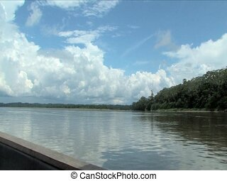 Rio Napo River - Boating Rio Napo River in the Ecuadorian...