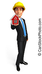 Young Business Man with home