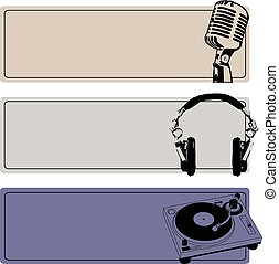 DJ Banners Vector Set - Horizontal DJ Banners Set