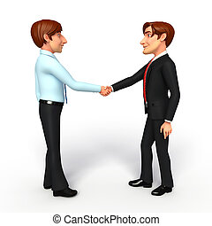 Business Man and service man with shake hand - Illustration...