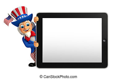 Uncle Sam with tab - Illustration of uncle sam with tab