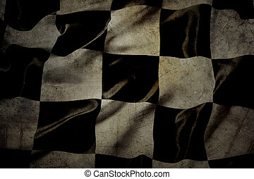 Checkered flag - Grungy checkered black and white racing...