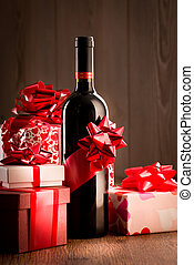 Exclusive wine bottle gift - Wine bottle gift with red...