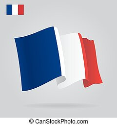 Flat and waving French Flag. Vector illustration