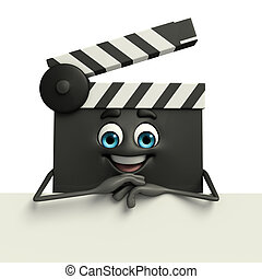 Clapper Board Character with sign - Cartoon Character of...
