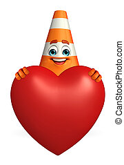 Construction Cone Character with heart - Cartoon Character...