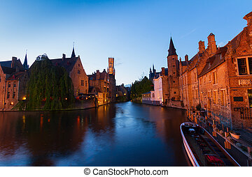 night scene of Brugge - night scene of historical old town...