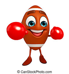 Rubgy ball character with Boxing Gloves - Cartoon Character...