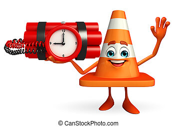 Construction Cone Character with time bomb - Cartoon...