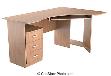 computer desk - wood computer desk on white background....