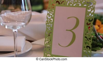 Reception Table Number - scope with a number three and glass...