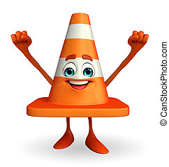 Construction Cone Character with happy pose - Cartoon...