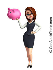 Young office girl with piggy bank - Illustration of young...