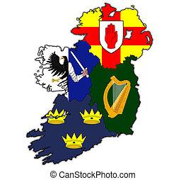 mapa, zakresy, IRLANDIA