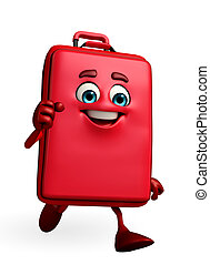Travelling bag Chatacter is running - Cartoon Character of...