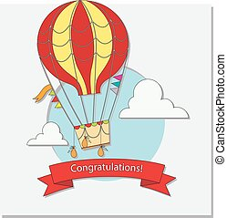 Greeting card with hot air balloon and clouds