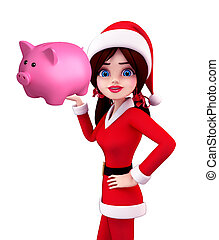 Santa Girl Character with piggy bank - Illustration of santa...
