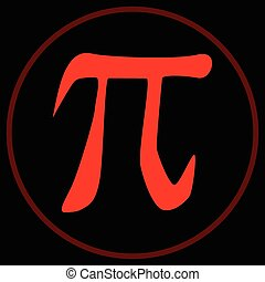 Pi the Constant - The constant Pi inside a red circle over a...