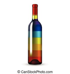Color Glass Wine Bottle - Rainbow Color Glass Wine Bottle