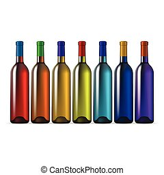 Color Glass Wine Bottles - Rainbow Color Glass Wine Bottles